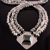 Hammered Sterling Silver Hematite, Freshwater Pearl &amp; Moonstone &quot;Zena&quot; Necklac