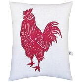 Rooster Block Print Squillow Accent Pillow
