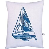 Sailboat Block Print Squillow Accent Pillow