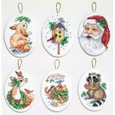 Santa and Animals Ornaments Cross Stitch (Set of 6)