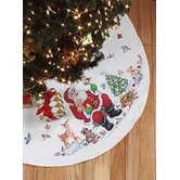 Santa and Animals Tree Skirt Christmas Cross Stitch