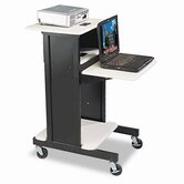 Audio Visual Adjustable Presentation Cart, 18 x 30 x 40-1/4, Black