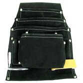 Black Professional 10 Pocket Leather Tool Bag Pouch