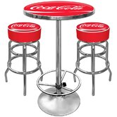 Coca Cola Ultimate Gameroom Combo - 2 Bar Stools &amp; Table in Red