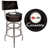 Corvette C1 Padded Bar Stool with Back in Black on Black