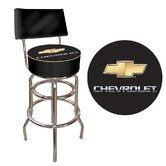 Chevrolet Padded Bar Stool with Back in Black / Silver