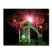 "Fireworks Bridge by Kurt Shaffer, Canvas Art - 26"" x 32"""