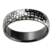 Geometric Matrix Print Band Ring