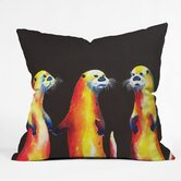 Clara Nilles Polyester Flaming Otters Indoor/Outdoor Throw Pillow