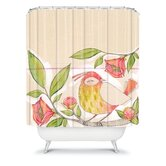 Cori Dantini Little Bird On A Flowery Branch Shower Curtain