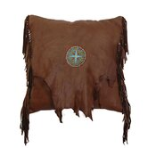 Accessory Deerskin Leather and Fringe with Embroidery Medallion Pillow