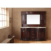 "72"" Double Bathroom Vanity with Hutch"