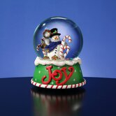 Snowman Joy Candy Cane Snow Globe