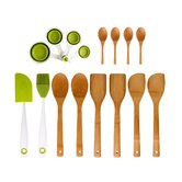 Utensil Set Bamboo / Silicone Measuring Cup (16 Piece)