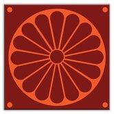 Folksy Love Decorative Tile in Citrus Plate Burgundy-Orange