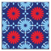 Folksy Love Decorative Tile in Kaleidoscope Blue-Red
