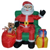 Christmas Inflatables Animated Santa on Chair