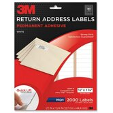 "Address Labels,Inkjet Paper,1/2""x1-3/4"",2000/PK,White"