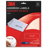 Address Labels,Inkjet Film,1-1/3&quot;x4,350/PK,Clear