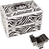 Zebra Pattern Professional Cosmetic Makeup Train Case with Dividers