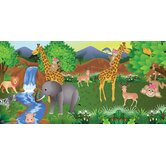 Personalized Canvas Giraffe Girl Wall Mural