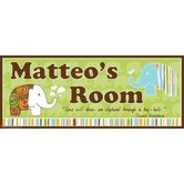 Personalized Canvas Elephant Boy Name Sign