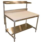 Aluminum I Frame Work Table with Back Splash and Poly Top