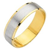 14k Two-tone Gold Ladies Easy Fit Wedding Band