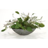 Silk Bay Leaves and Fern in Oval Planter