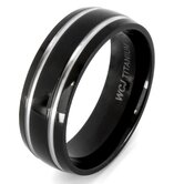 Men's Plated Titanium Domed and Grooved Ring