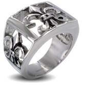 Men's Stainless Steel Fleur De Lis Cutout Masonic Ring