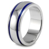 Stainless Steel Groove Domed Band Ring