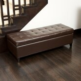 Mission Bonded Leather Tufted Storage Ottoman Bench in Brown