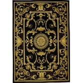 Classic Aubusson La Sarre Black Rug