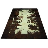 Straight White Line Haired Cowhide Rug