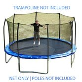 15 Ft. (Frame Size) Trampoline Net for 8 Straight Curved Enclosure (Fits Skywalker) (Net and Attachments Only)
