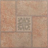 Nexus 12&quot; x 12&quot; Vinyl Tile in Beige Terracotta with Motif Center