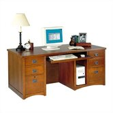 Wood Pedestal Computer Desk