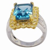 18K Gold and Silver Princess Cut Topaz and Cubic Zirconia Ring