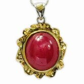 18K Gold and Silver Round Cut Ruby Necklace