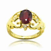 Gold over Silver Oval Cut Genuine Ruby and Cubic Zirconia Ring