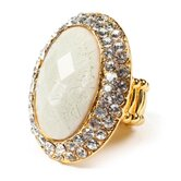 Gold Tone Brass Crystal Culver Ring