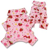 Yummy Strawberries Fleece Turtleneck Dog Pajamas / Bodysuit
