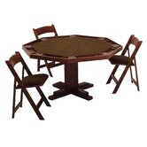 52'' Oak Pedestal-Base Poker Table Set