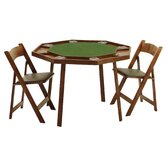 "46"" Oak Compact Folding Poker Table"