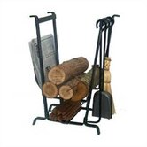 3 Piece Fireplace Steel Tool Set with Log Rack