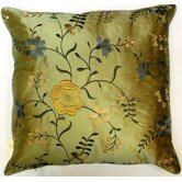 Florence Embroidered Cushion in Blue
