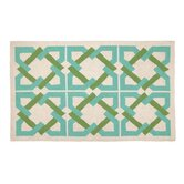 Geometric Tile Blue/Green Rug