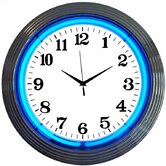Chrome Blue Neon Clock