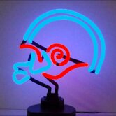Football Helmet Neon Sculpture in Blue and Red